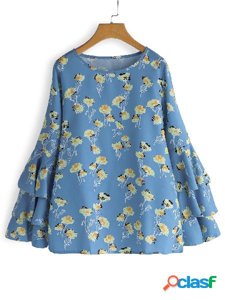 Blue random floral print round neck long tiered bell sleeves blouses