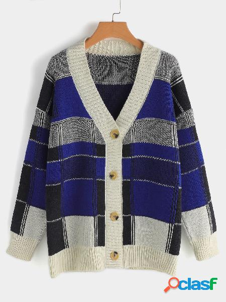 Color block open front long sleeves button design sweater