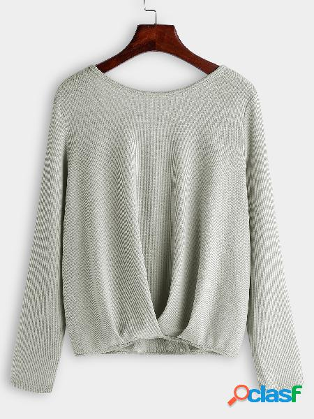 Grey backless design cross back round neck long sleeves t-shirts