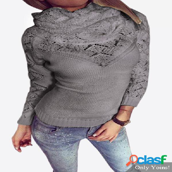 Grey high neck pullover hollow out jumper with two pieces