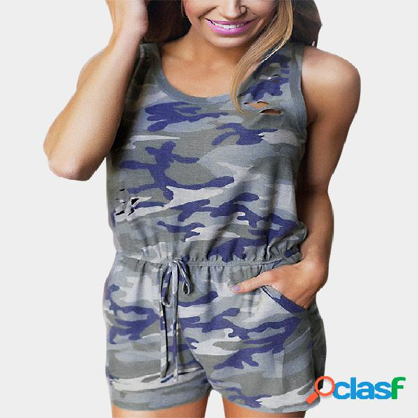 Camouflage ripped details drawstring waist playsuit