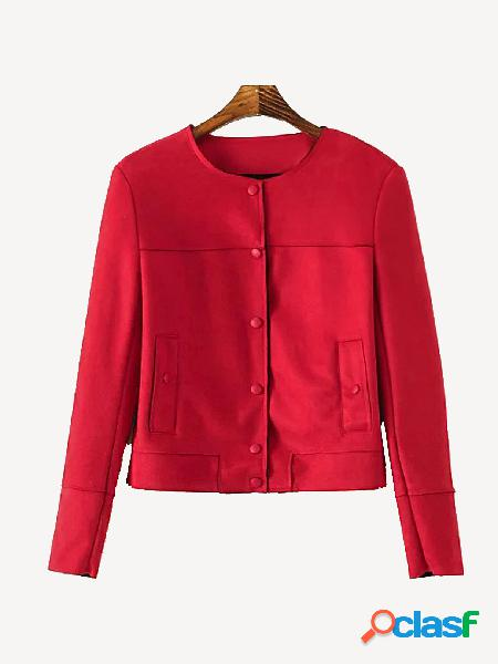Red suedette long sleeves button design jacket