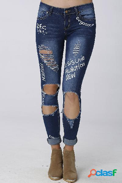 Blue fashion low waist ripped letter pattern skinny jeans