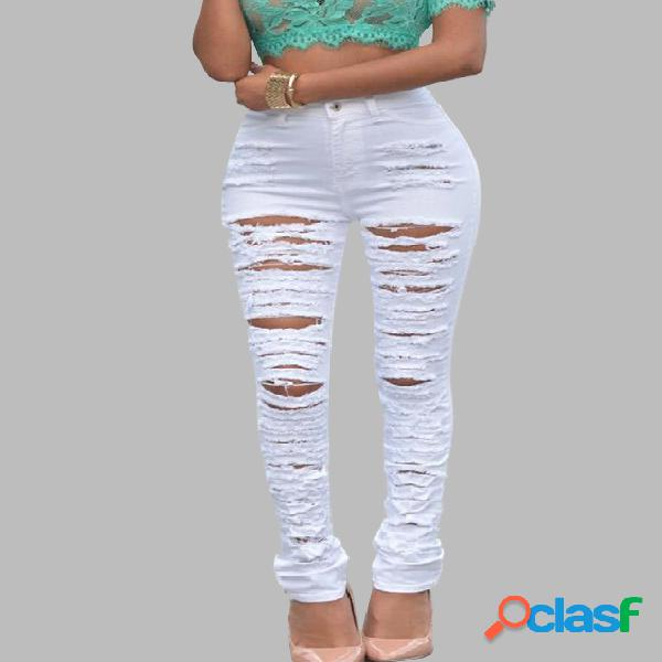 White ripped pants with high-waist design