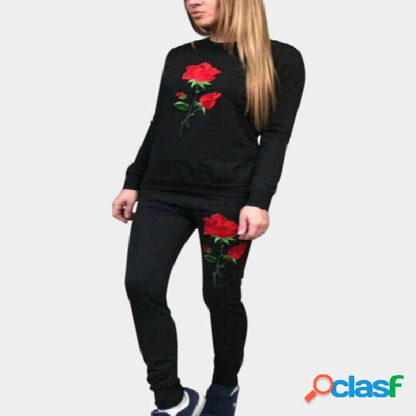 Black side pockets rose embroidered crew neck long sleeves two piece outfits