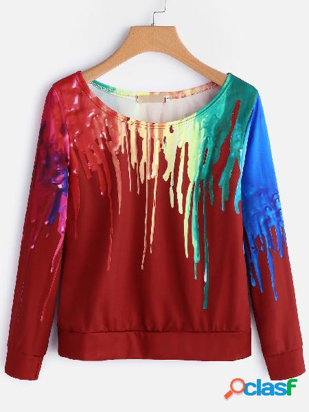 Red fantasy colour one shoulder long sleeves t-shirt