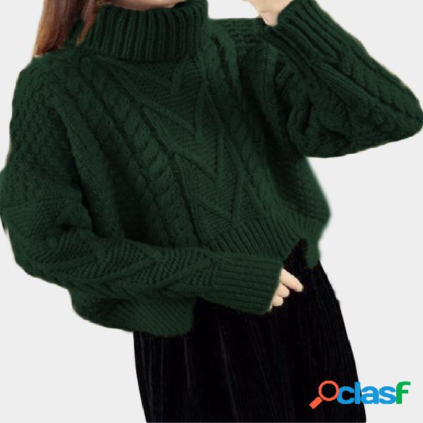 Dark green cable knit turtleneck long sleeves sweaters