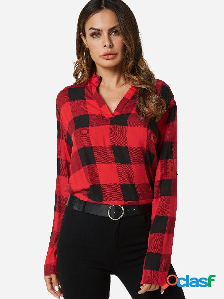 Red grid classic collar long sleeves casual shirt