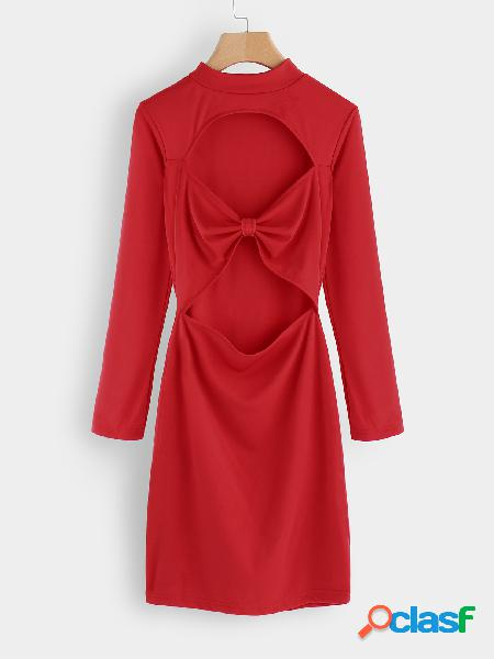 Red cut out crew neck long sleeves bodycon hem mini dress